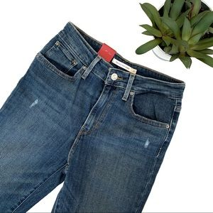 Levi's 721 High Rise Skinny Distressed Jeans